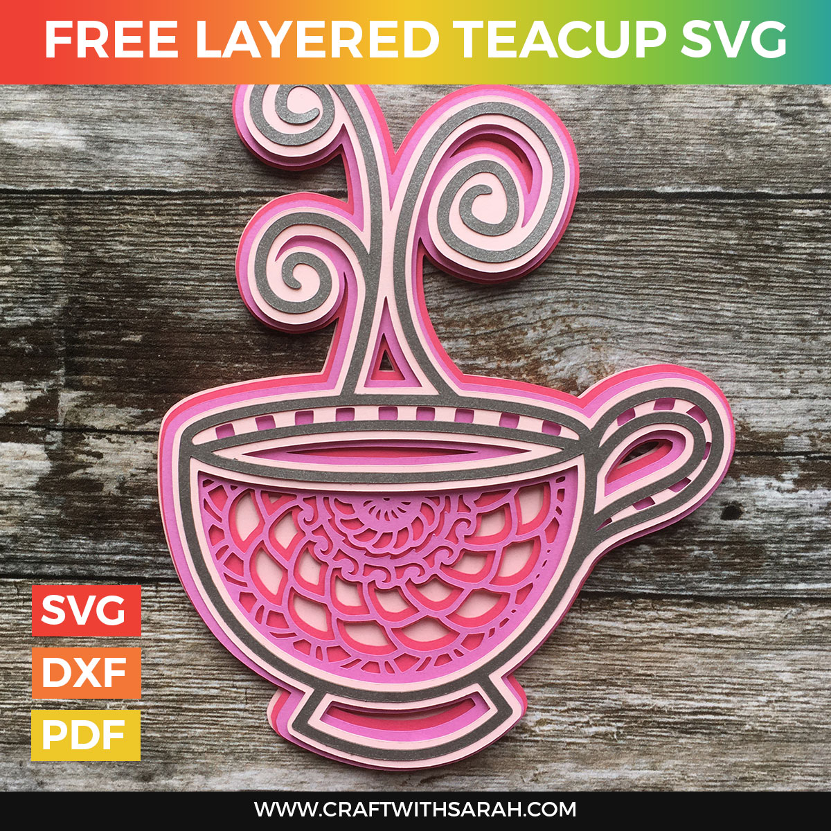 Mandala Teacup Layered SVG