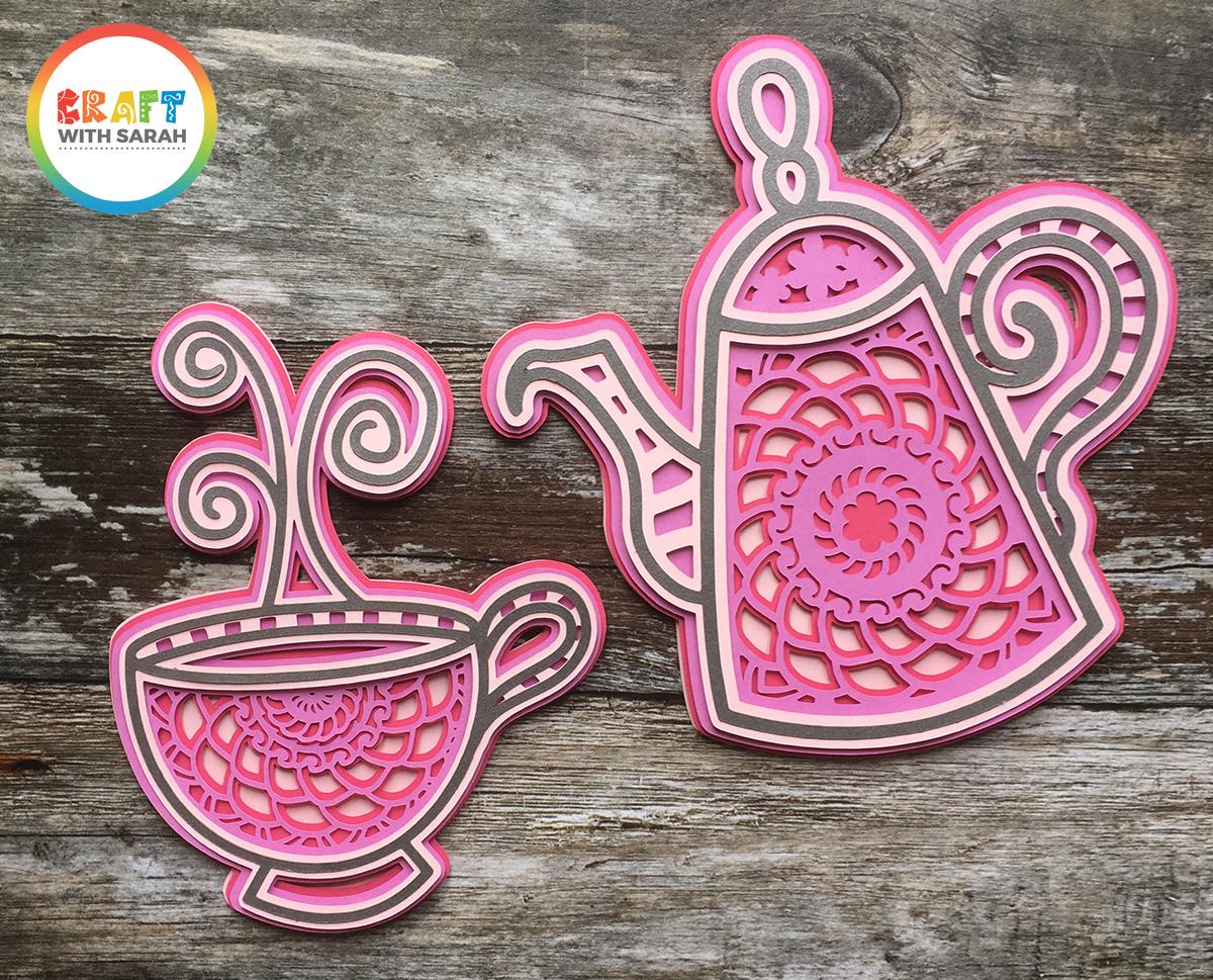 Teacup and teapot layered mandala SVGs for Cricut
