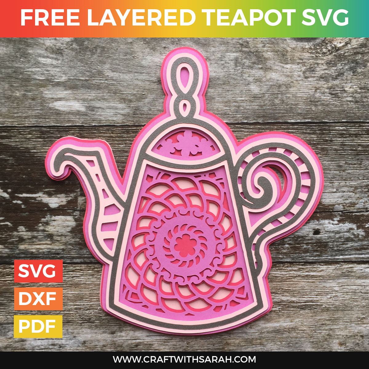 Mandala Teapot Layered SVG