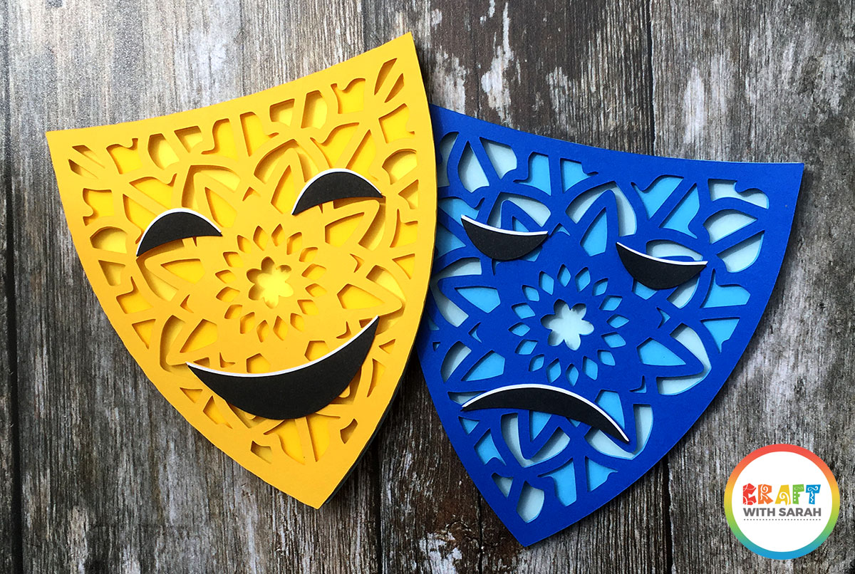 Theater masks SVG file for Cricut and Silhouette machines