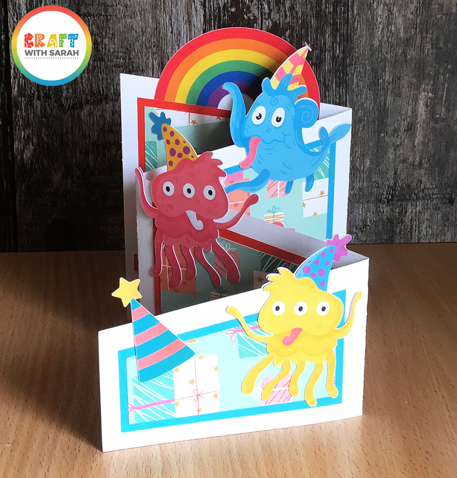 Birthday monsters handmade card using Cricut print then cut