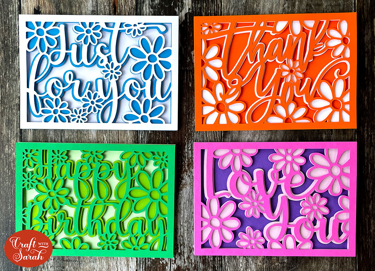 Layered cards for Cricut