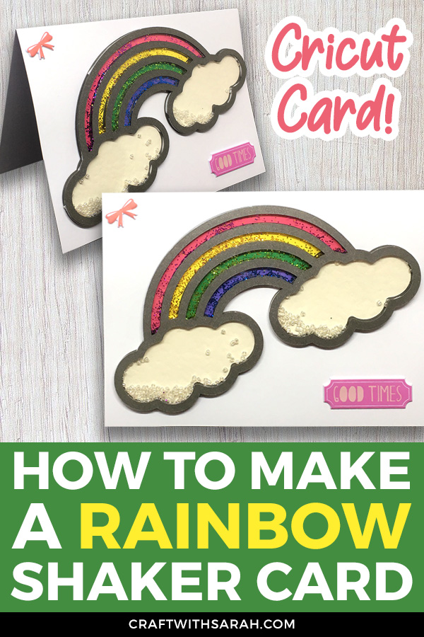 Make a rainbow shaker card with your Cricut! Learn how to turn Cricut Access images into designs suitable for shaker cards, plus how to cut acetate with a Cricut and how to make multicolour shaker cards with different sections of glitter.