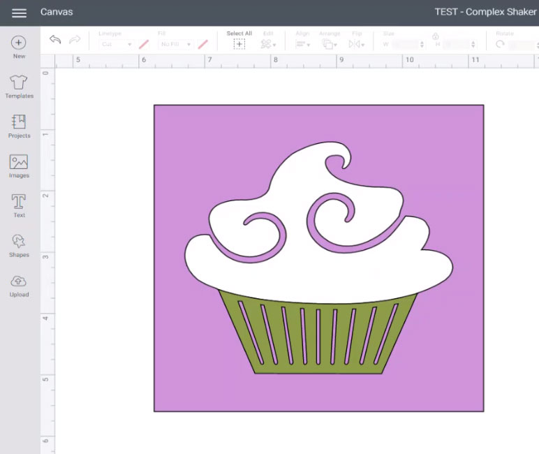 Cupcake shaker all ready to cut with Cricut Maker