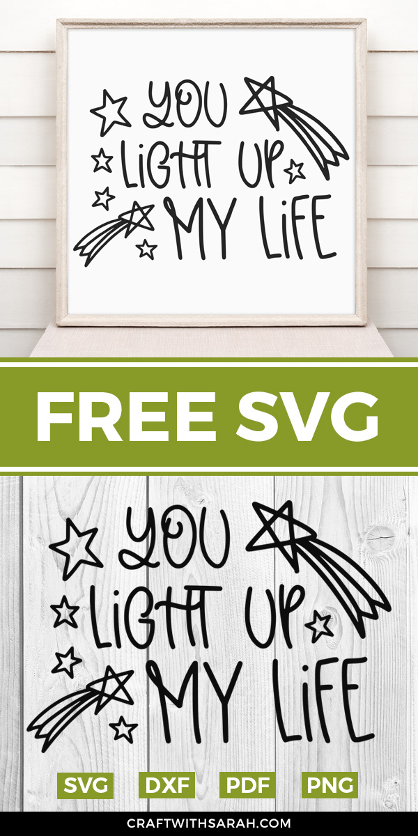 You light up my life free SVG. Funny cute love SVG for Valentine's Day and other couple crafting designs.