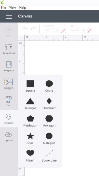 "In Design Space, go into ""Shapes"" and choose a square"