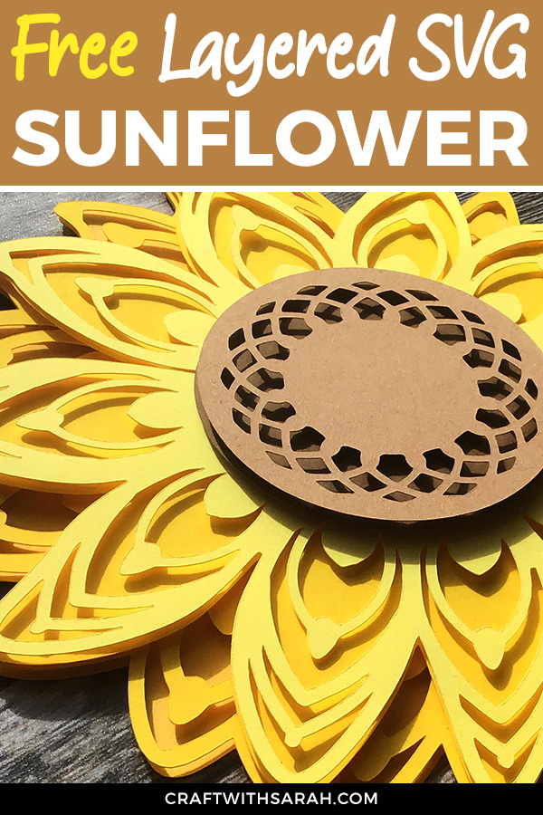 Free layered sunflower SVG. 3D layered sunflower design for Cricut. Download this free sunflower SVG today to make gorgeous sunflower crafts!