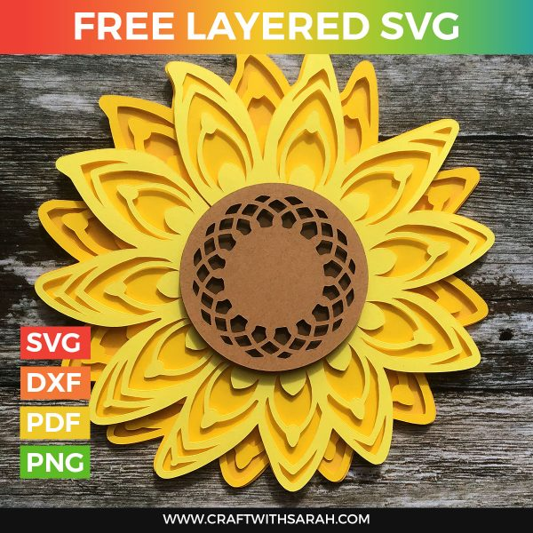 Free Sunflower Layered SVG