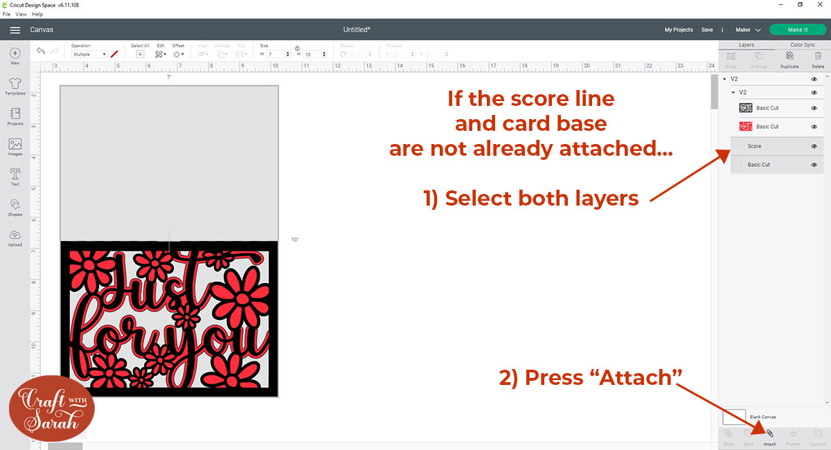 How to attach the score line to the card base
