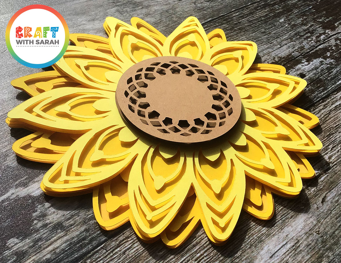 3D mandala sunflower SVG for Cricut and Silhouette