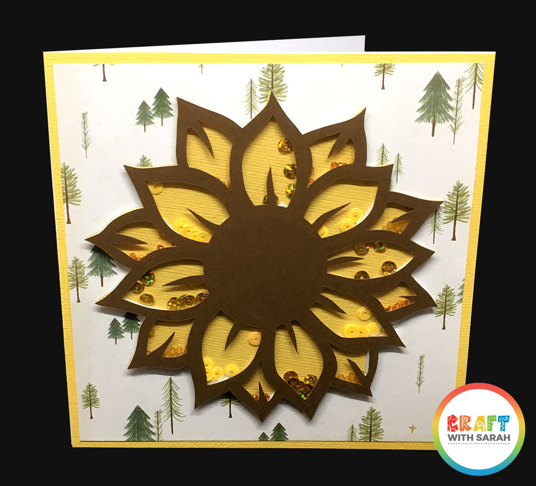 Sunflower shaker card with different petal sections
