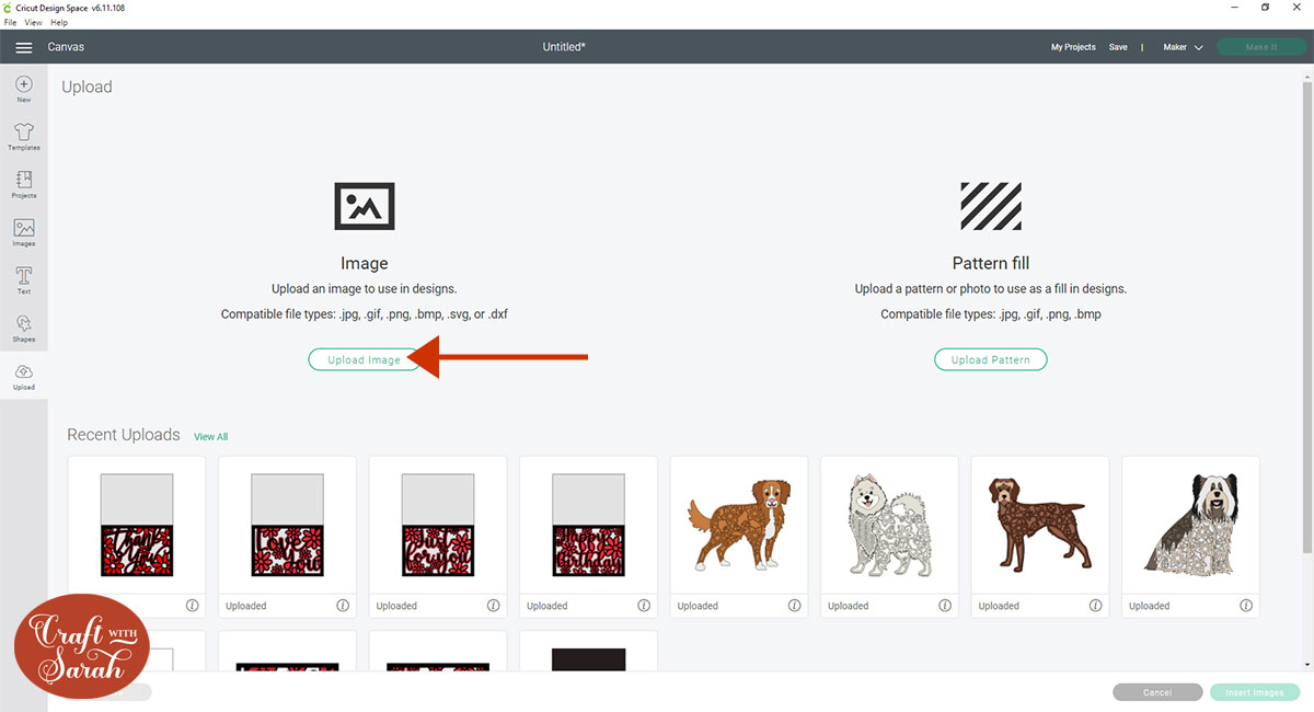 Upload image in Design Space