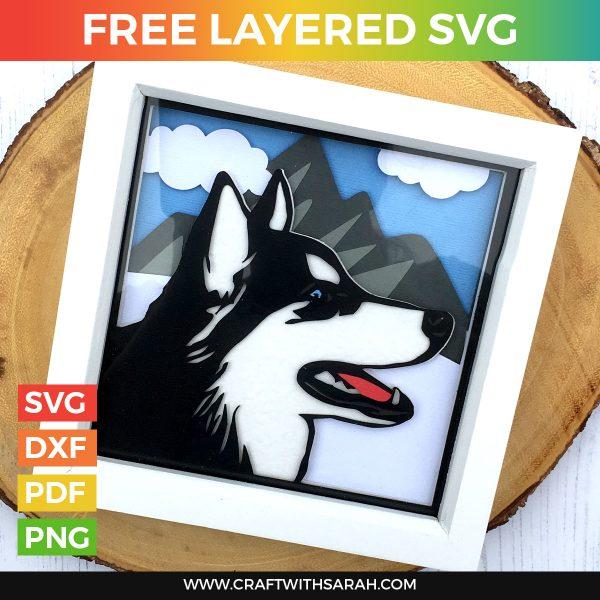 Husky Shadow Box Frame SVG