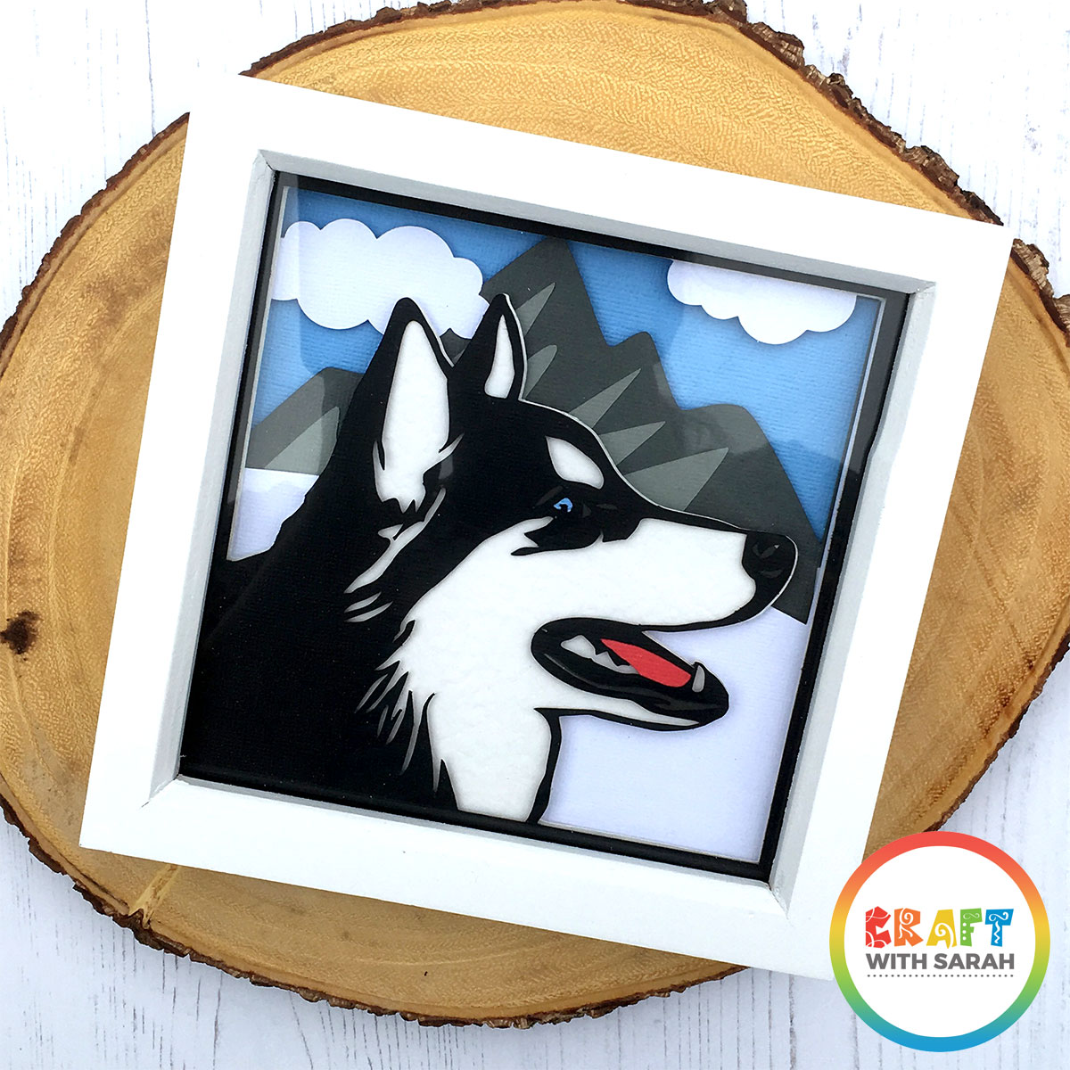 Make your own husky shadow box wall art with this free SVG for Cricut and Silhouette machines