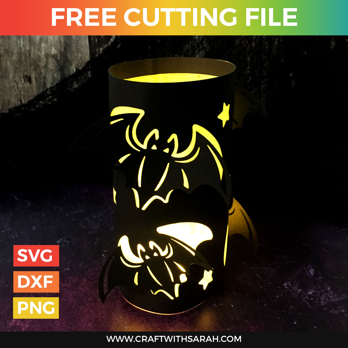 Halloween Bats Luminary Cutting File