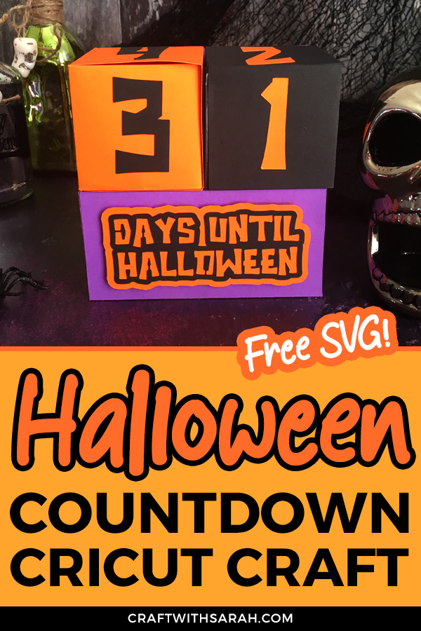 Download the free SVG and make this fun Halloween countdown calendar with your Cricut machine. All you need to do each day is turn the cubes around to show the new countdown date on the front.