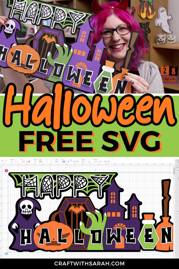 Free Halloween layered SVG. Happy Halloween cutting file for Cricut. Giant off-the-mat Halloween Cricut craft project.