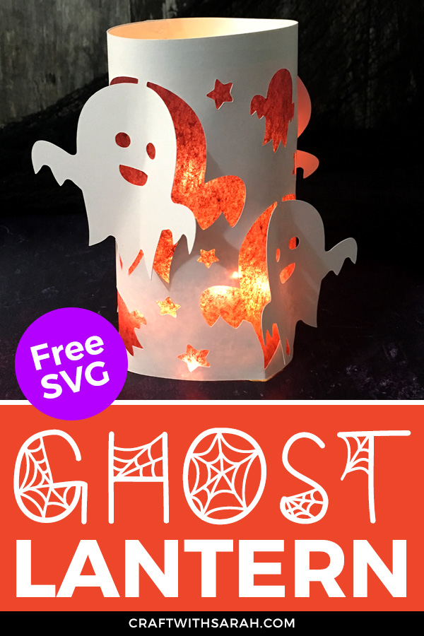 Light up your home this Halloween with an adorable ghost luminary. Free Halloween ghost paper lantern SVG for Cricut machines.