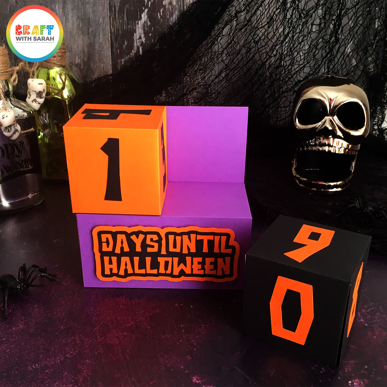 Halloween countdown blocks made with Cricut and free SVG