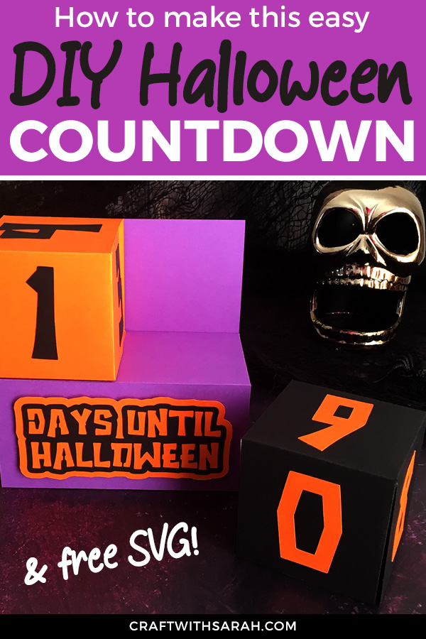 Free Cricut Halloween Craft. Make your own Halloween countdown cubes with this Cricut craft project for Halloween. Free SVG to make your own Halloween calendar countdown cubes.
