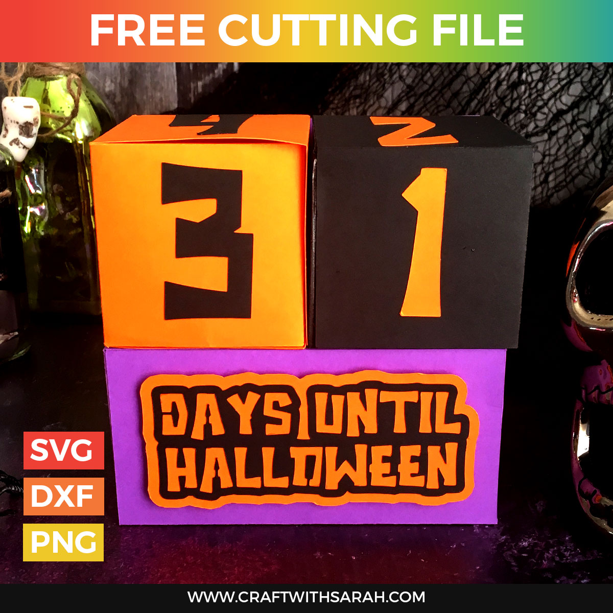 Halloween Countdown Cubes Free SVG