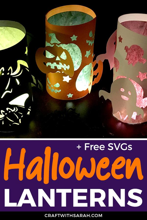 Free Halloween lantern SVGs. Make DIY paper lanterns for Halloween with free SVGs for Cricut and Silhouette machines. Easy #Cricut craft for #halloween
