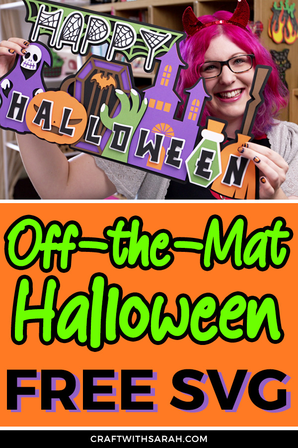 Make a GIANT Halloween Sign with your Cricut! Get the free Halloween SVG to craft a larger-than-mat Halloween showstopper craft! #halloween #cricut