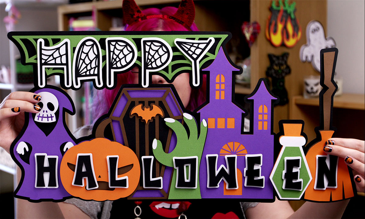 Giant happy Halloween sign SVG to cut with Cricut