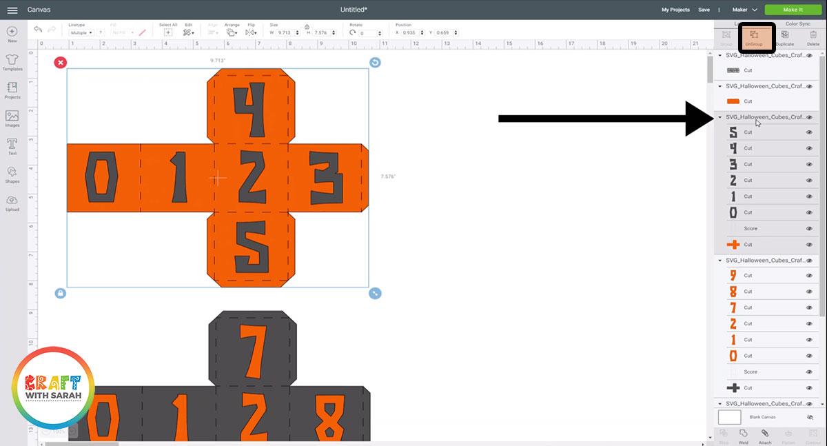 Ungroup the orange cube layers