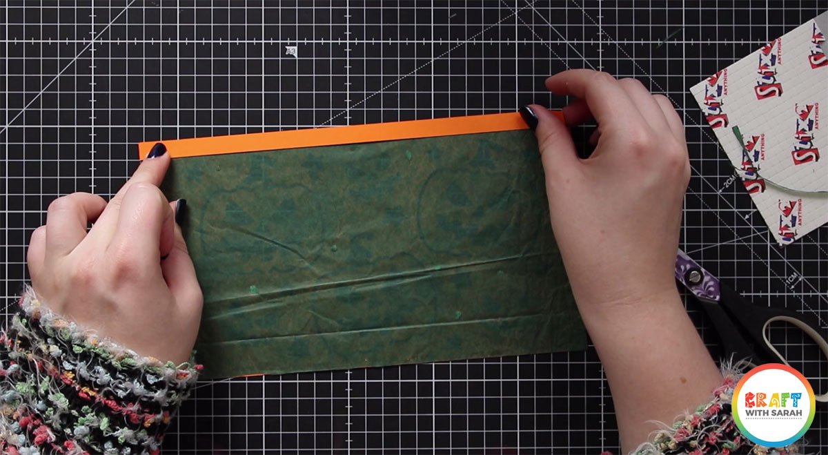 Glue on the top strip of card