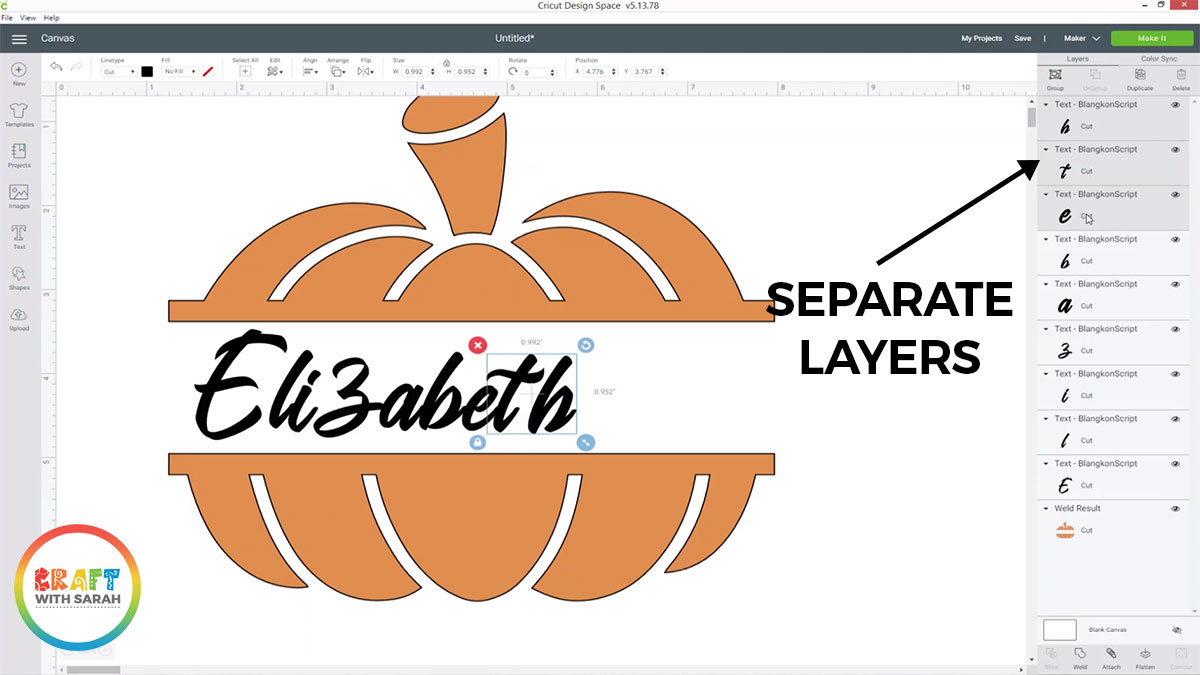 Separate the letters into different layers