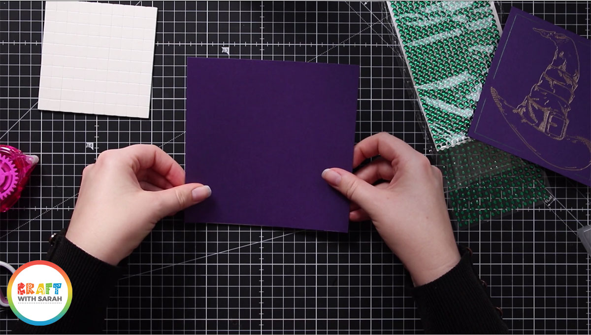 Stick the largest square to the front of your card blank