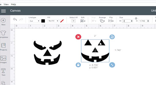 Open and resize the pumpkin face SVGs in Cricut Design Space
