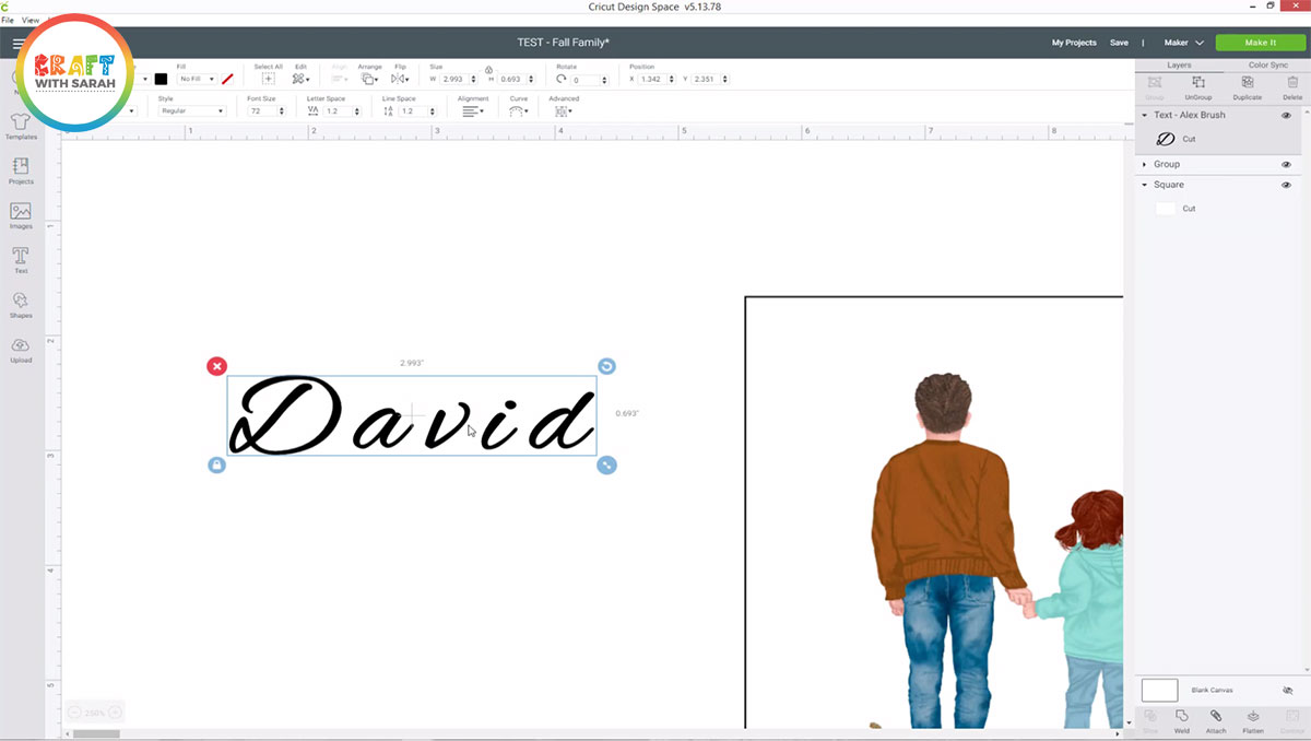 Script font with gaps in Cricut Design Space