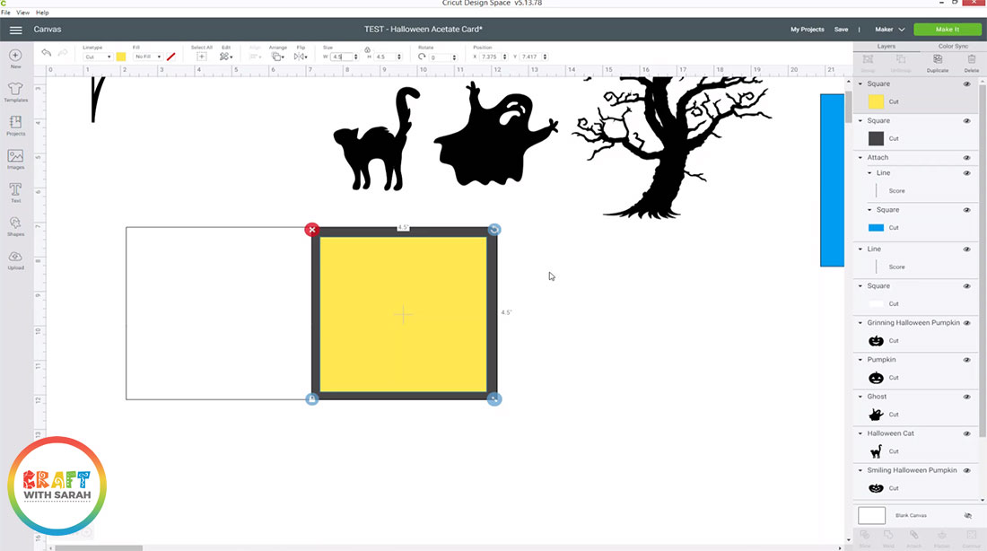 Create squares on your card base