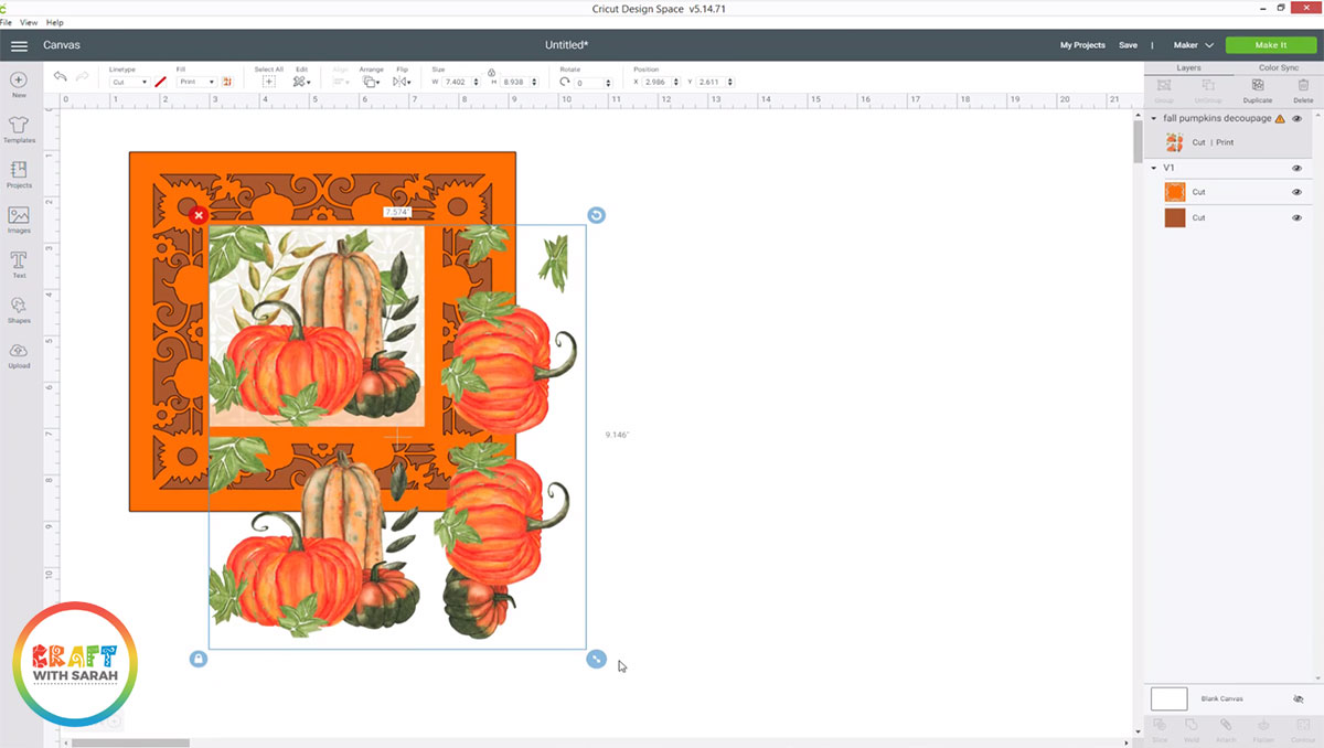 Resize the decoupage to fit inside your card shape