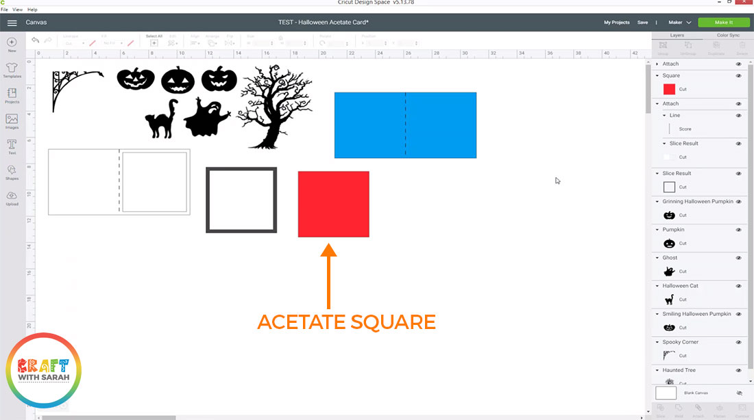 Create a square to be cut from acetate