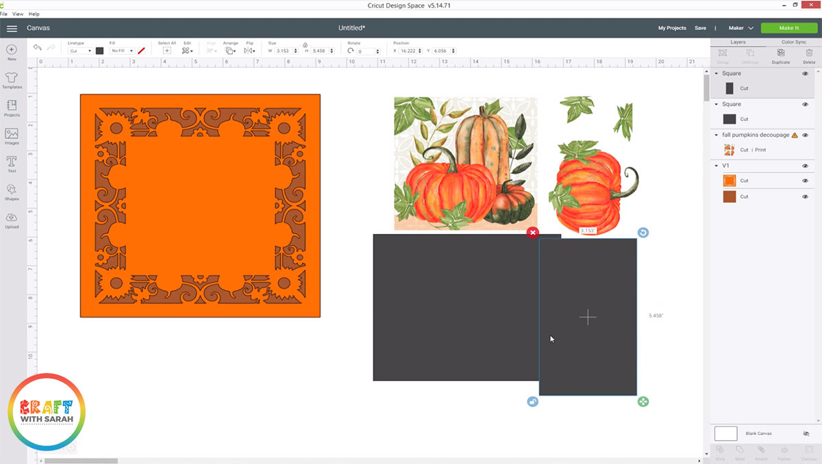 Draw rectangles to cover the bottom half of the design