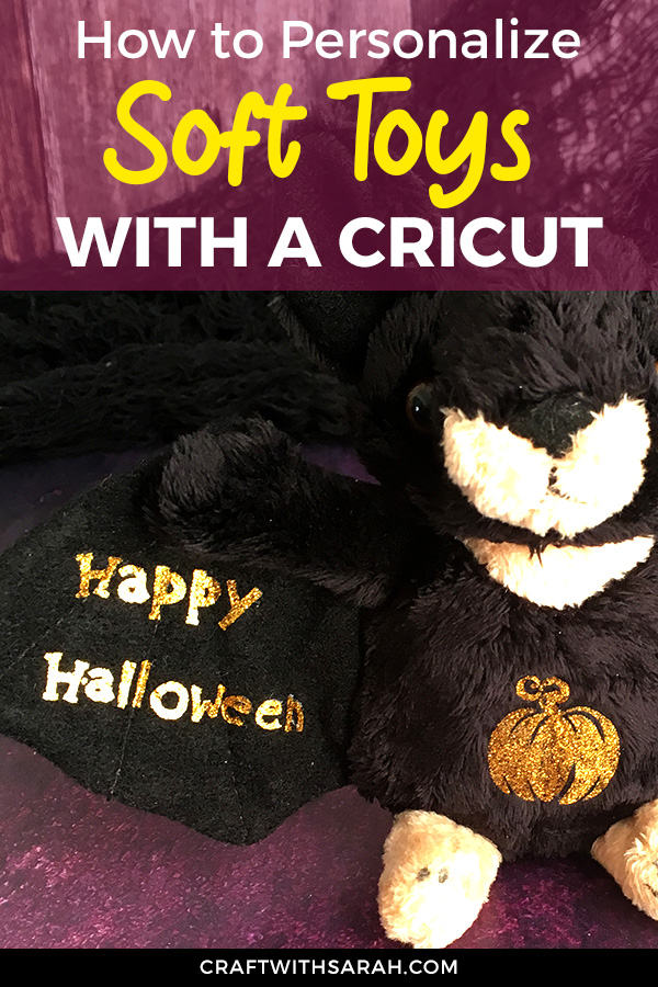 Learn how to personalize soft toys with a Cricut Easypress Mini in this fun Halloween tutorial. Add HTV to stuffed animals. Fun Cricut gift for children.