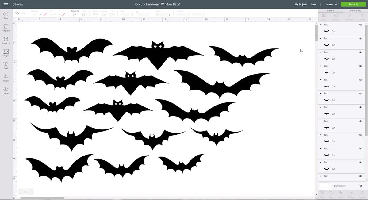 Bat images in Cricut Design Space