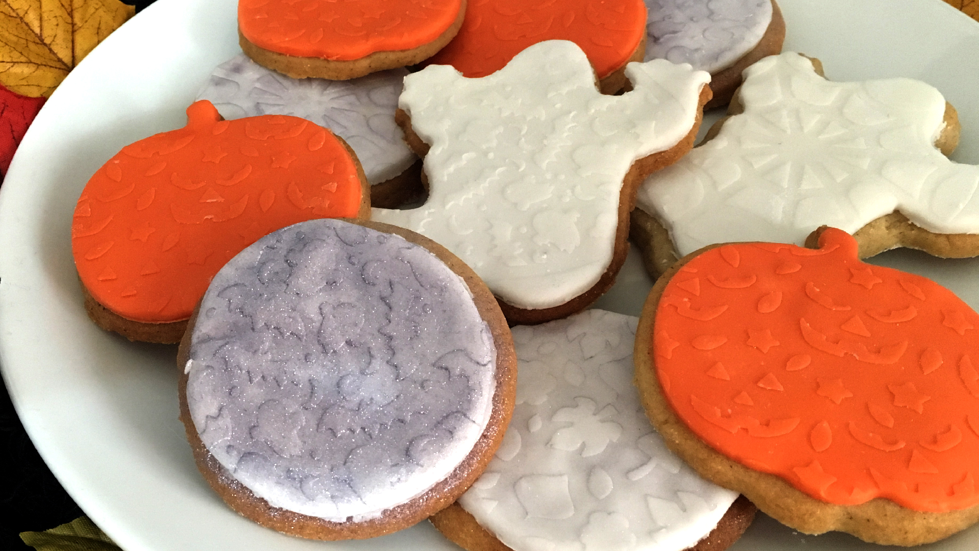 Homemade Halloween cookies with cookie stencils