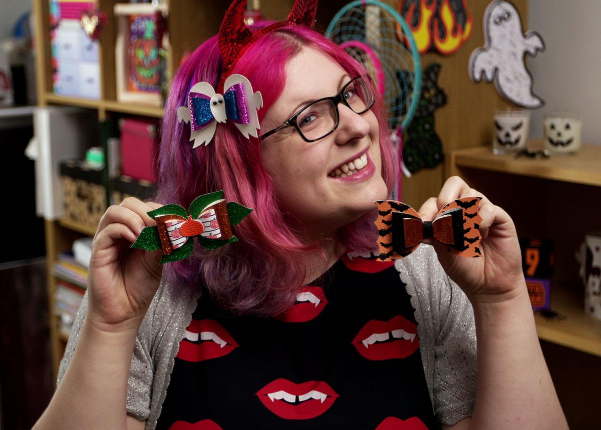 Sarah with Halloween hair bows