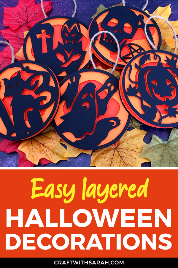 Decorate your home for Halloween with these fun layered decorations. These three-layer hanging Halloween decorations are an easy Cricut craft for Halloween.