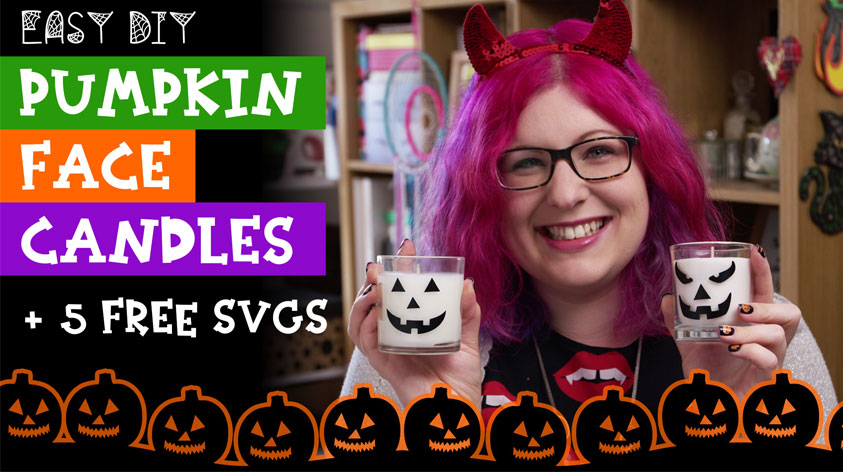 Make Pumpkin Face Candles with Free SVGs