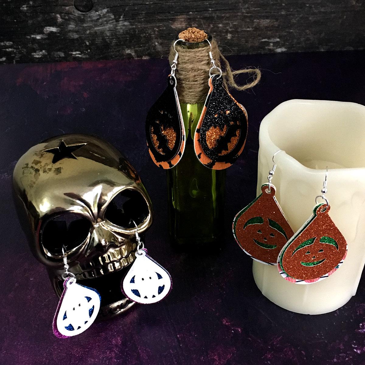 Halloween faux leather earrings