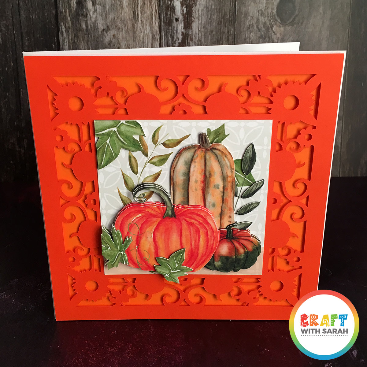 Filigree pumpkins handmade card