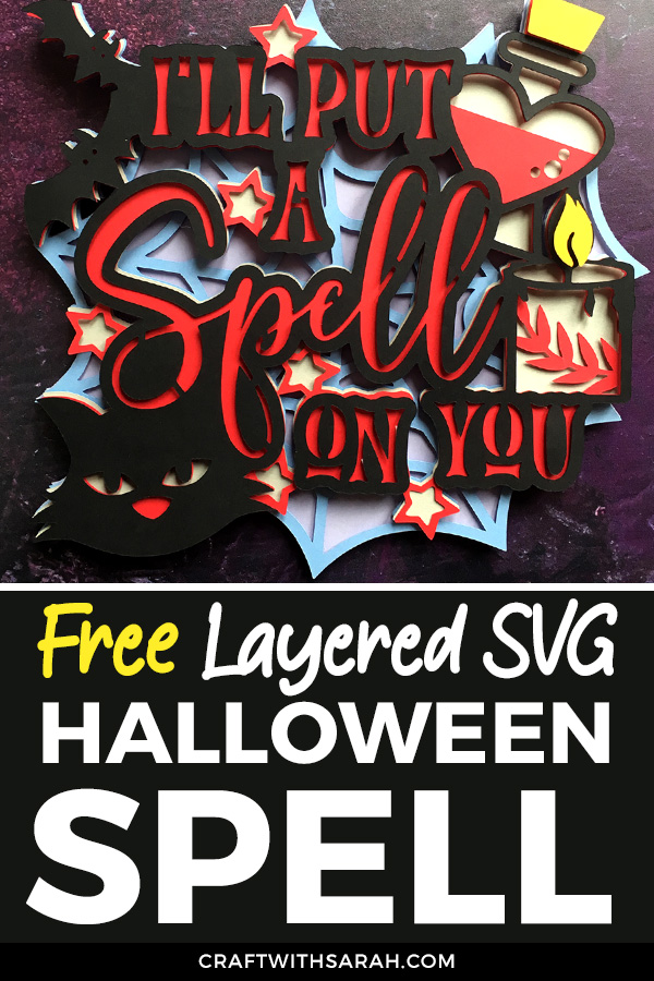 I'll put a spell on you digital cutting file for Cricut and Silhouette machines. Free layered SVG for Halloween.  #cricut #halloweencrafts