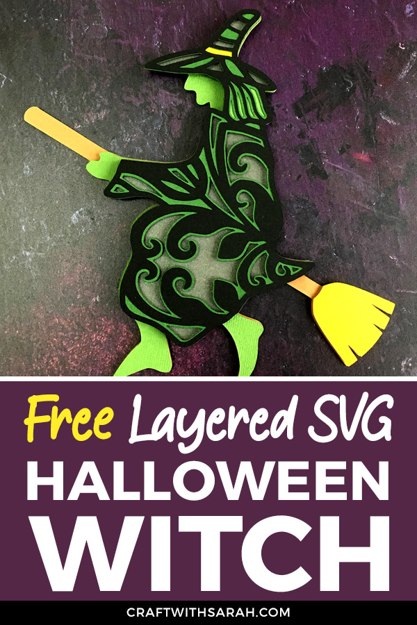 This scary looking witch is flying her broomstick, off to cause mischief and magic this Halloween! Download the free flying witch SVG file today.