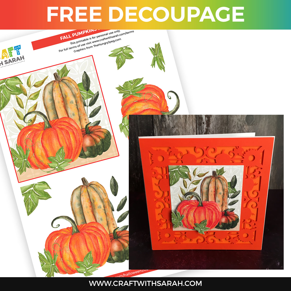 Fall Pumpkins Decoupage Printable
