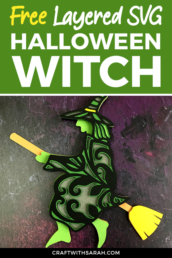 Fly, my pretties! Craft your way to Halloween with this free layered witch cutting file. Free witch on broomstick SVG for Cricut. #cricut #freesvg